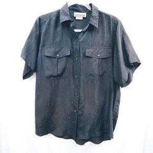 VTG 90s Matte Silky Boxy Button Down Shirt EUC